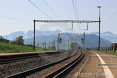 Railways and Alps mountain, Switzerland