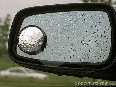 Rain on car mirror 20