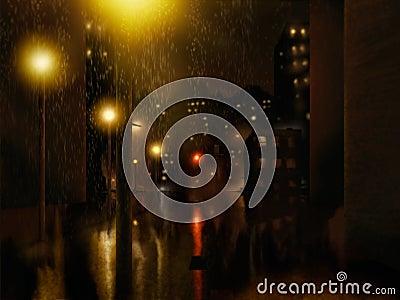 Rain City Night Painting