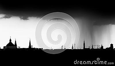 Rain city skyline