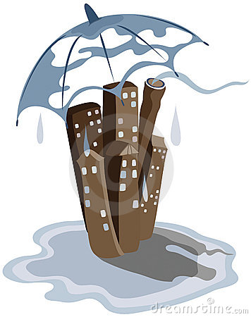 Rain in the city or town
