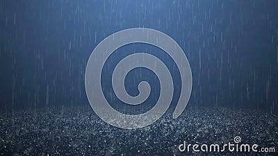 Rain. On darkly blue background 4K