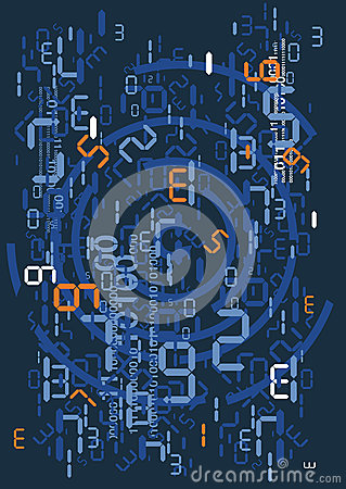 Rain of digital numbers