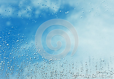 Rain drop and blue sky
