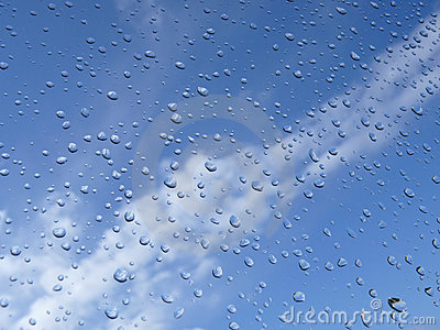 Rain drops and blue sky