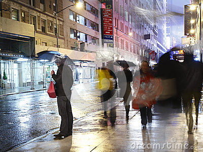 Rain in the city Manhattan Editorial Stock Photo