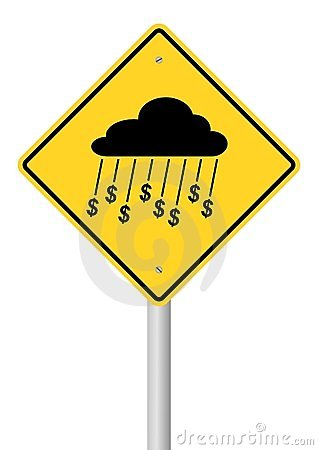 Rain Of Money Sign On Stick
