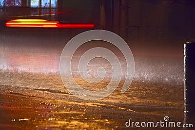 Rain at night city
