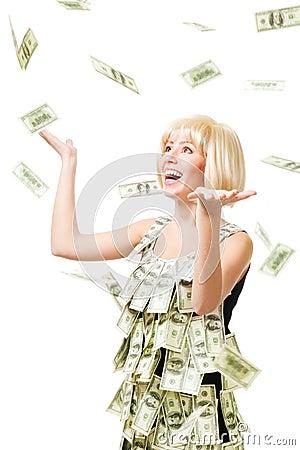 Free Rain Of Dollars - Woman Won A Million Royalty Free Stock Photos - 12718718