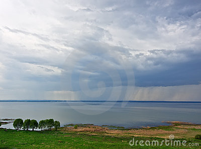 Rain over lake