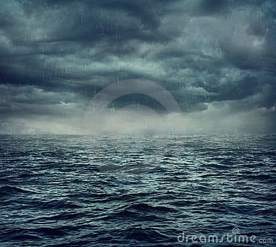 Free Rain Over The Stormy Sea Stock Photography - 24178032