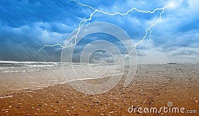 Rain on the shoreline