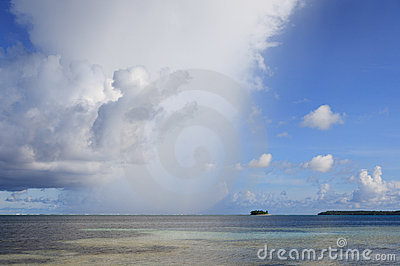 Rain shower tropical ocean