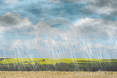 Rain storm in cloudy weather on landscape nature backgrounds Stock Photo