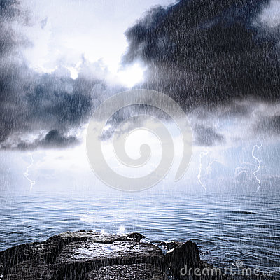 Rain and thunderstorm in the ocean