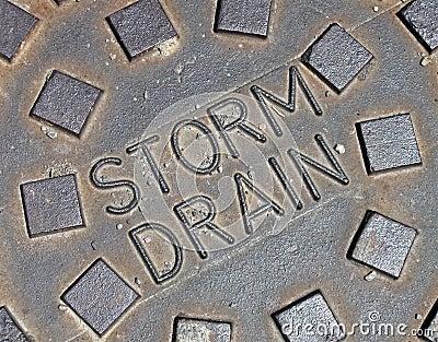 Rain water, street metal construction details,