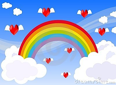 hearts flying in a sky with Rainbow and clouds