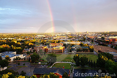 Rainbow above city edmonton