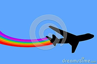 Rainbow airplane