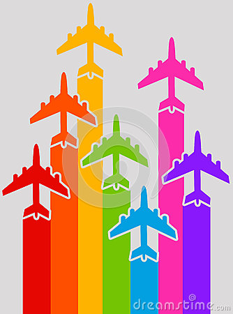 Rainbow airplanes