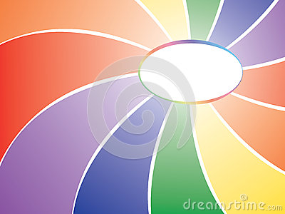 Rainbow background with badge