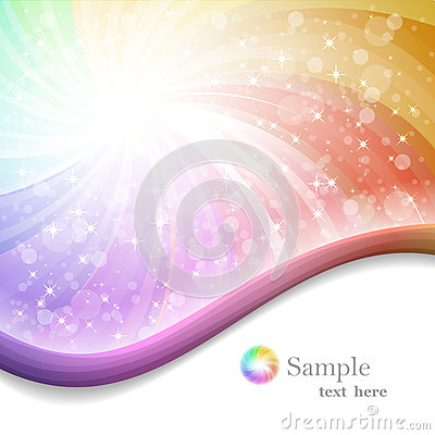 Rainbow background with ribbons