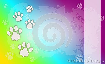 Rainbow background wiht dog paws Stock Photo