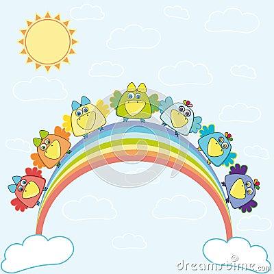 Rainbow with birds