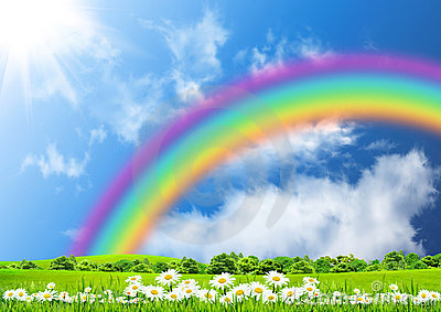 Rainbow In The Blue Sky Stock Photos Image 21447453