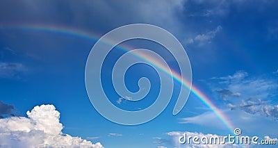 Rainbow on blue sky