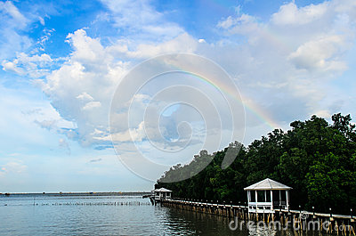 Rainbow on blue sky above oyster farm