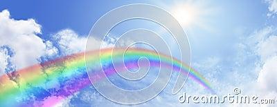 Rainbow and blue sky website banner