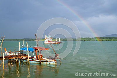 Rainbow and boat on the river at Koh Kho Khao
