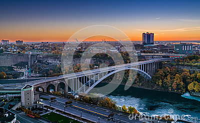Rainbow Bridge connecting Canada and United States Stock Photo