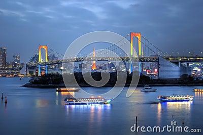 Rainbow Bridge from Odaiba, Tokyo, Japan