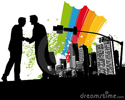 Rainbow Business Handshake