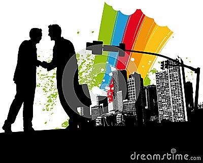 Rainbow Business Handshake