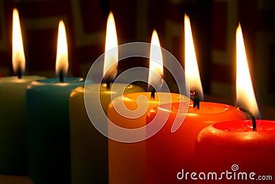 Rainbow candles
