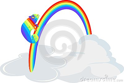 Rainbow Chameleon in the clouds