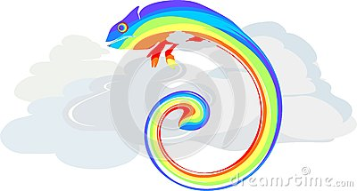 Rainbow Chameleon in clouds