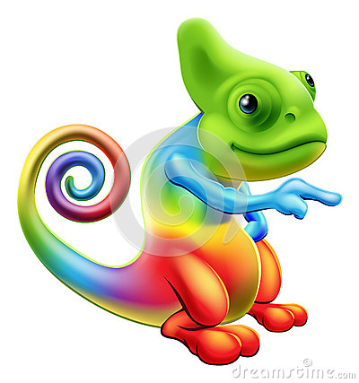Free Rainbow Chameleon Mascot Pointing Royalty Free Stock Photo - 31404135