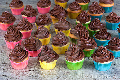 Rainbow of choclate frosted cupcakes