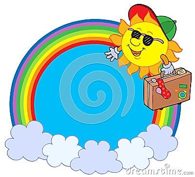 Rainbow circle with sun traveller