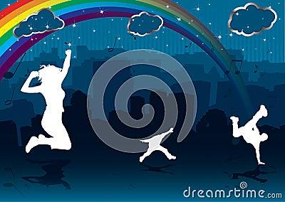 Rainbow cityscape