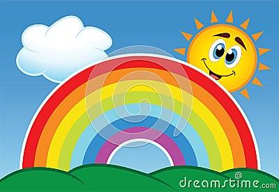 vector rainbow, cloud and  sun
