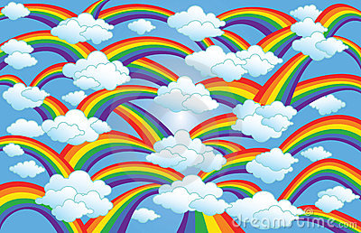 Rainbow & Clouds Art