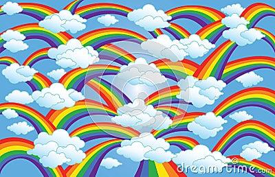 Rainbow & Clouds Art