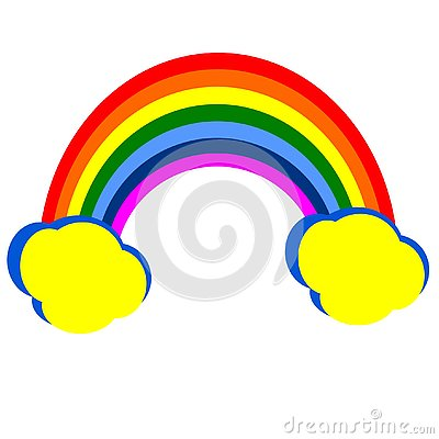 Rainbow with clouds. Vector Illustration
