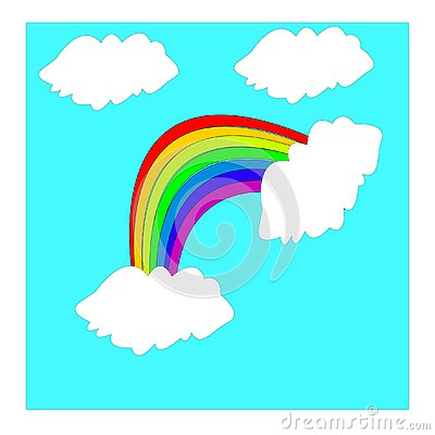 Rainbow and clouds vector illustration. Vector Illustration