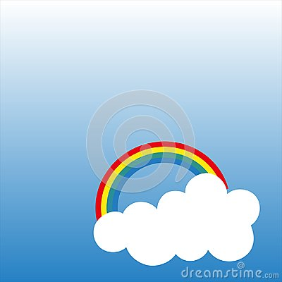 Rainbow with clouds, vector illustration isolated on blue gradient background Vector Illustration